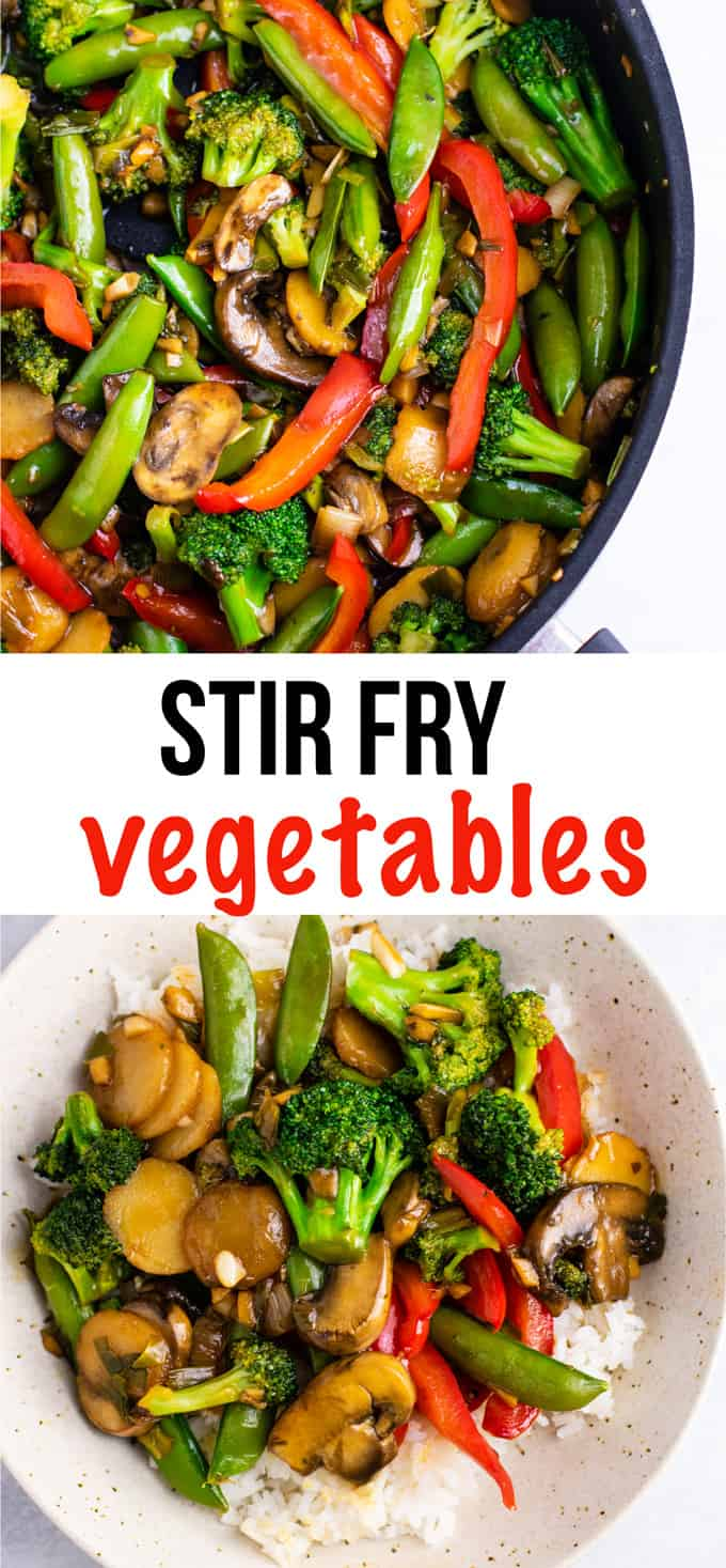 Veggie stir fry recipe – with homemade stir fry sauce. This is amazing and has so much flavor! #stirfryvegetables #stirfry #stirfryrecipe #stirfrysauce #vegetarian #vegan #glutenfree #dinner #dinnerrecipe