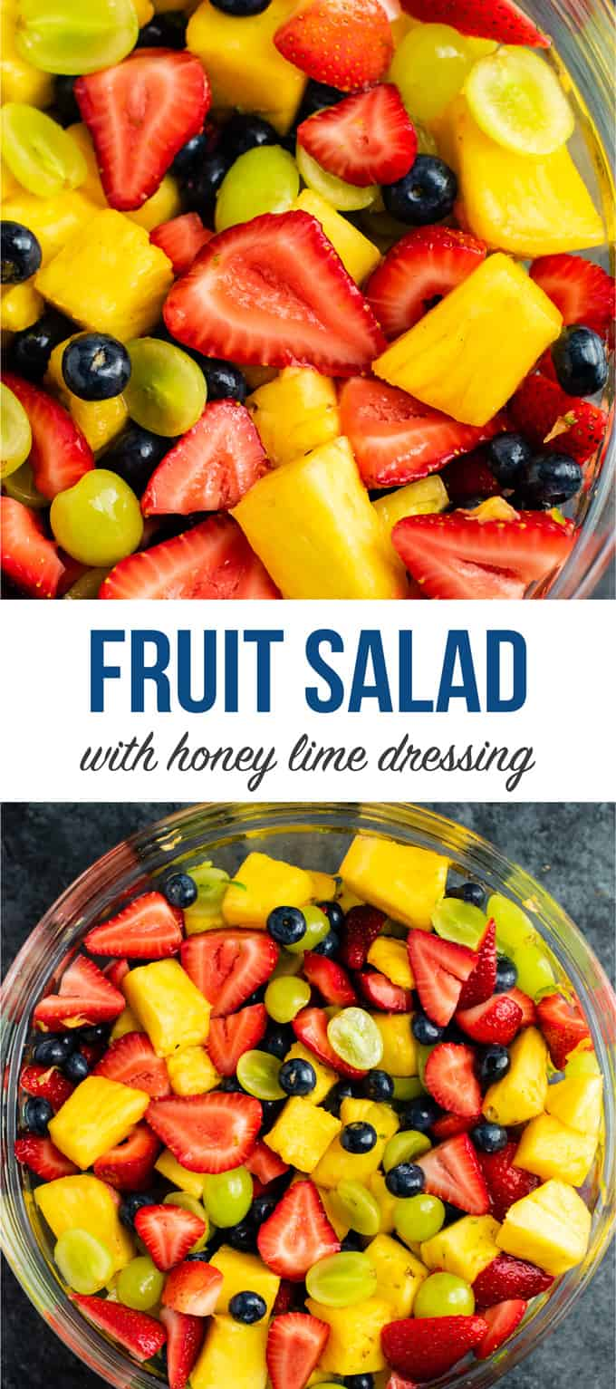 The best fruit salad recipe with fresh fruit and simple honey lime dressing. This is SO good! #fruitsalad #fruitsaladrecipe #healthyrecipe #salad #fruit #summer #honey #fruitrecipe #summerrecipe