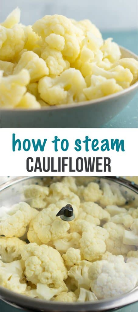 How to steam cauliflower – you don't even need a steamer for this! So simple. #howtosteamcauliflower #cauliflower #steamedcauliflower #vegetables #sidedish #howto #kitchenhacks #steamcauliflower
