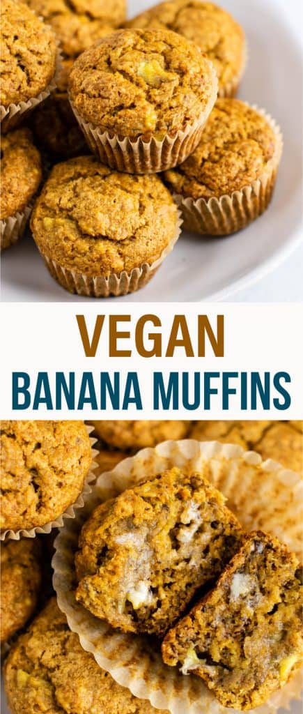 Healthy and easy vegan banana muffins recipe with applesauce – these are amazing and totally oil free! No flax eggs or difficult ingredients. So easy and a great vegan breakfast or snack. #veganbananamuffins #veganbreakfast #vegan #breakfast #healthymuffins #healthybananamuffins #veganmuffins