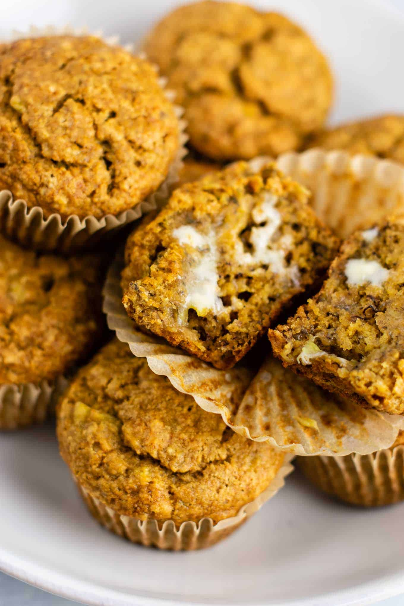 vegan butter on vegan muffins