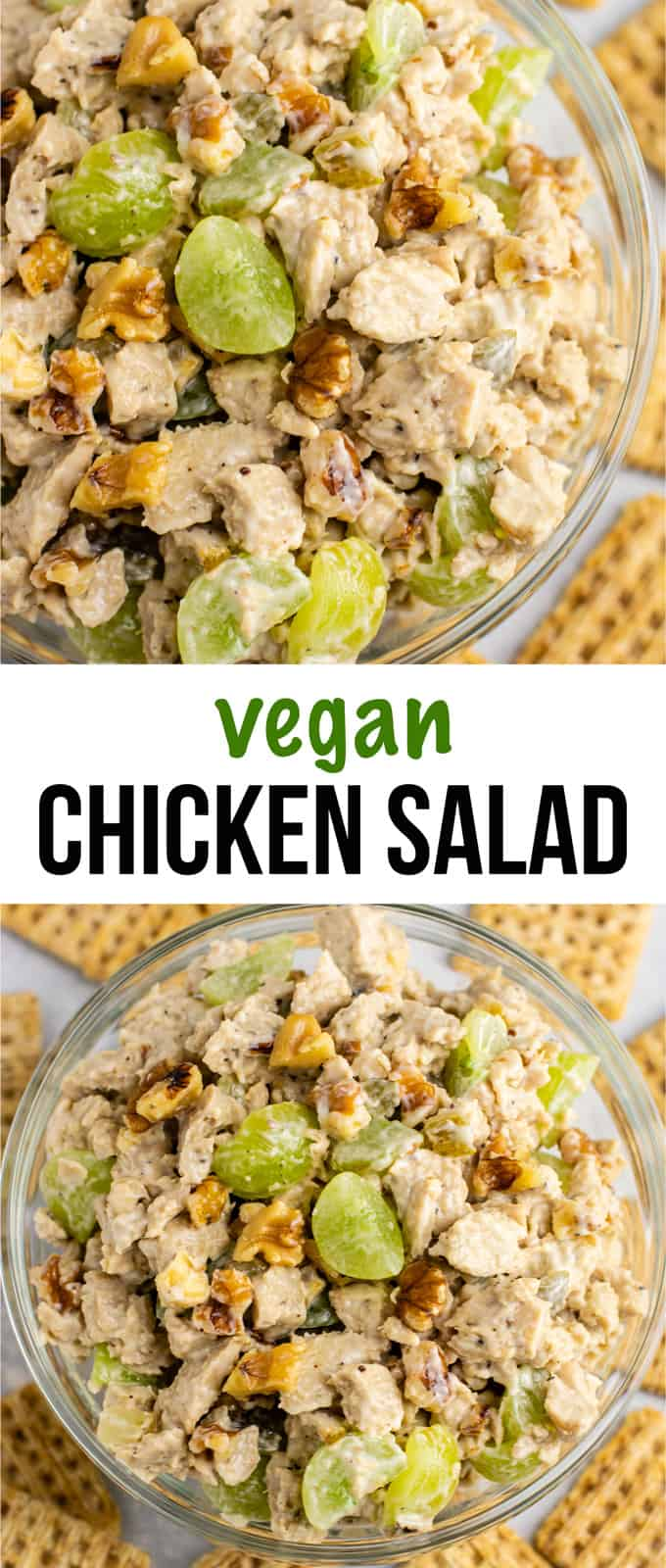 Vegan chicken salad with grapes and pecans. This is so good! I am obsessed! #vegan #veganlunch #veganmealprep #veganchickensalad #meatless #vegetarian #vegandinner #veganchicken