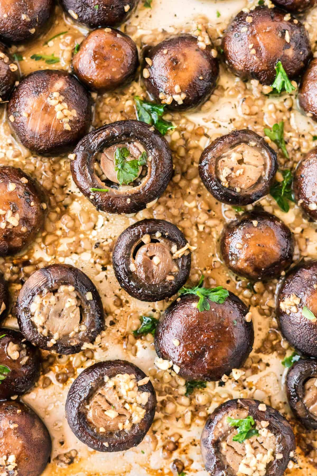roasted garlic mushrooms on a baking sheet