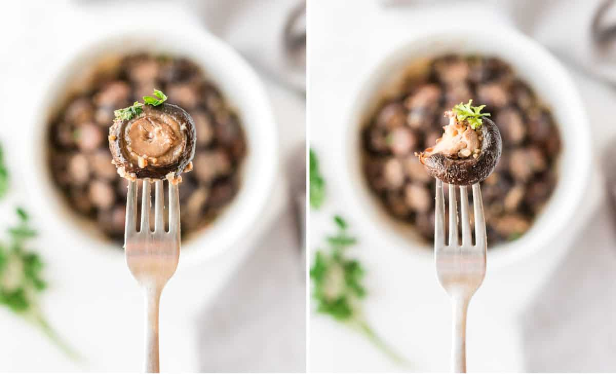 a fork holding a roasted mushroom