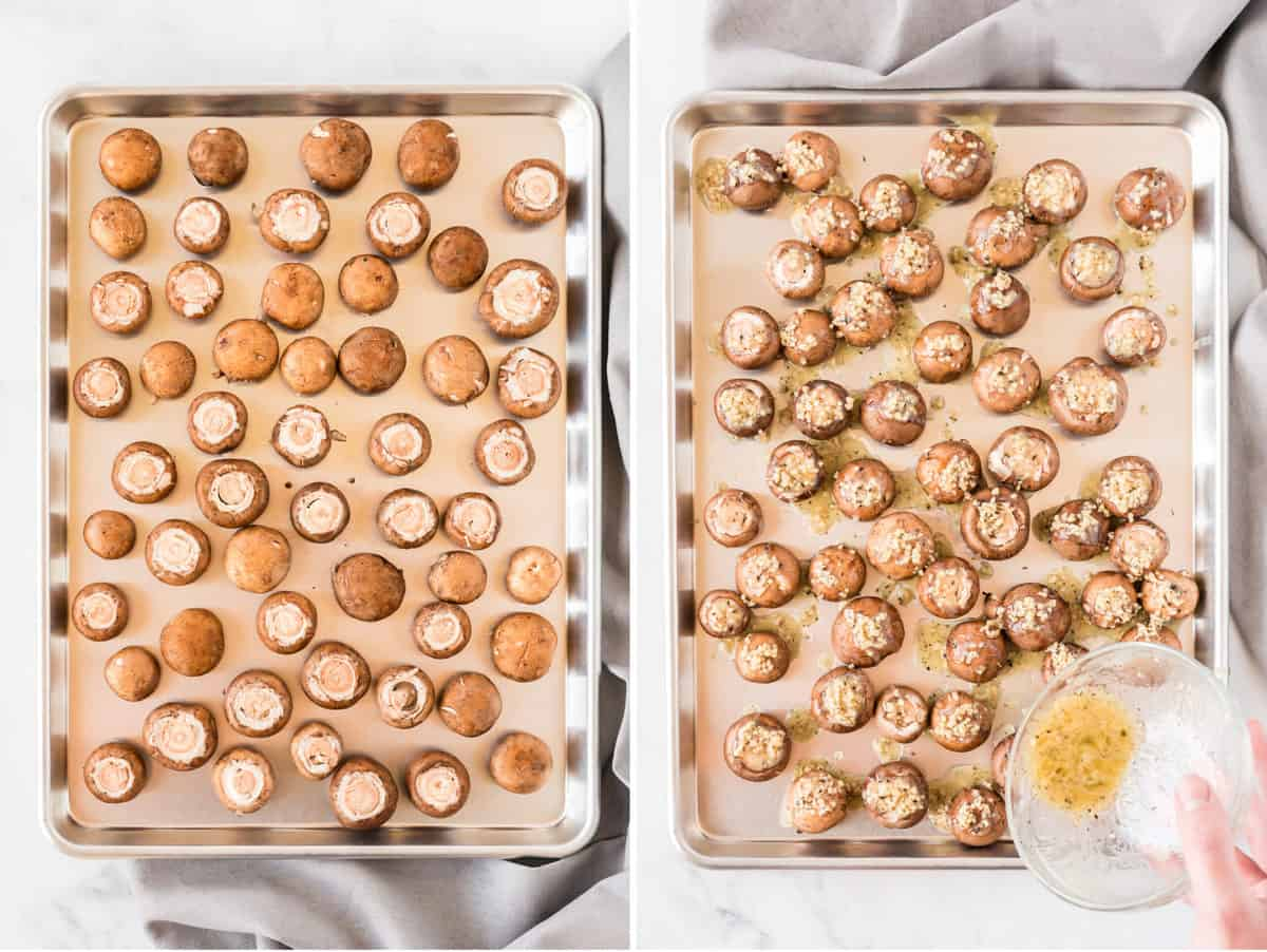 collage image showing the mushrooms on a baking sheet, then garlic butter poured on top