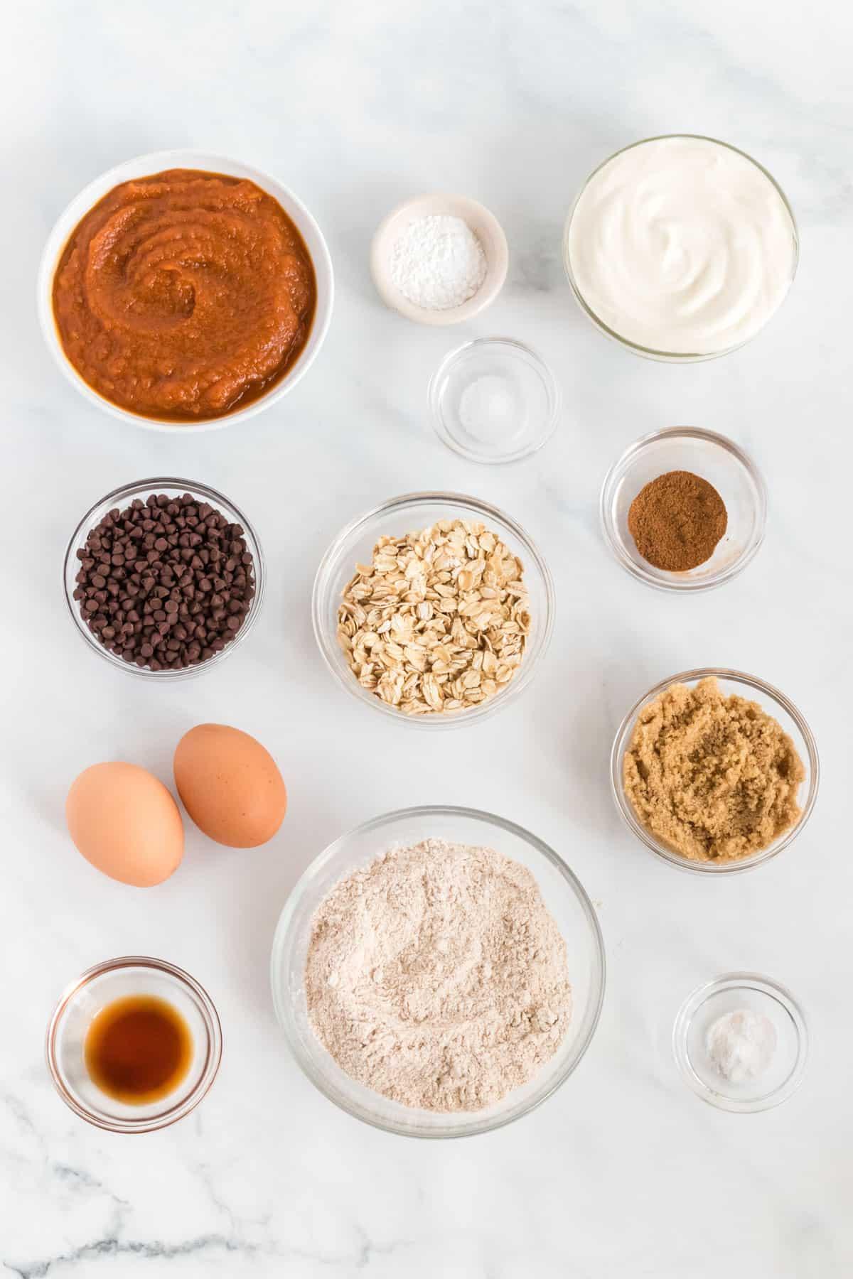 ingredients to make healthy pumpkin muffins