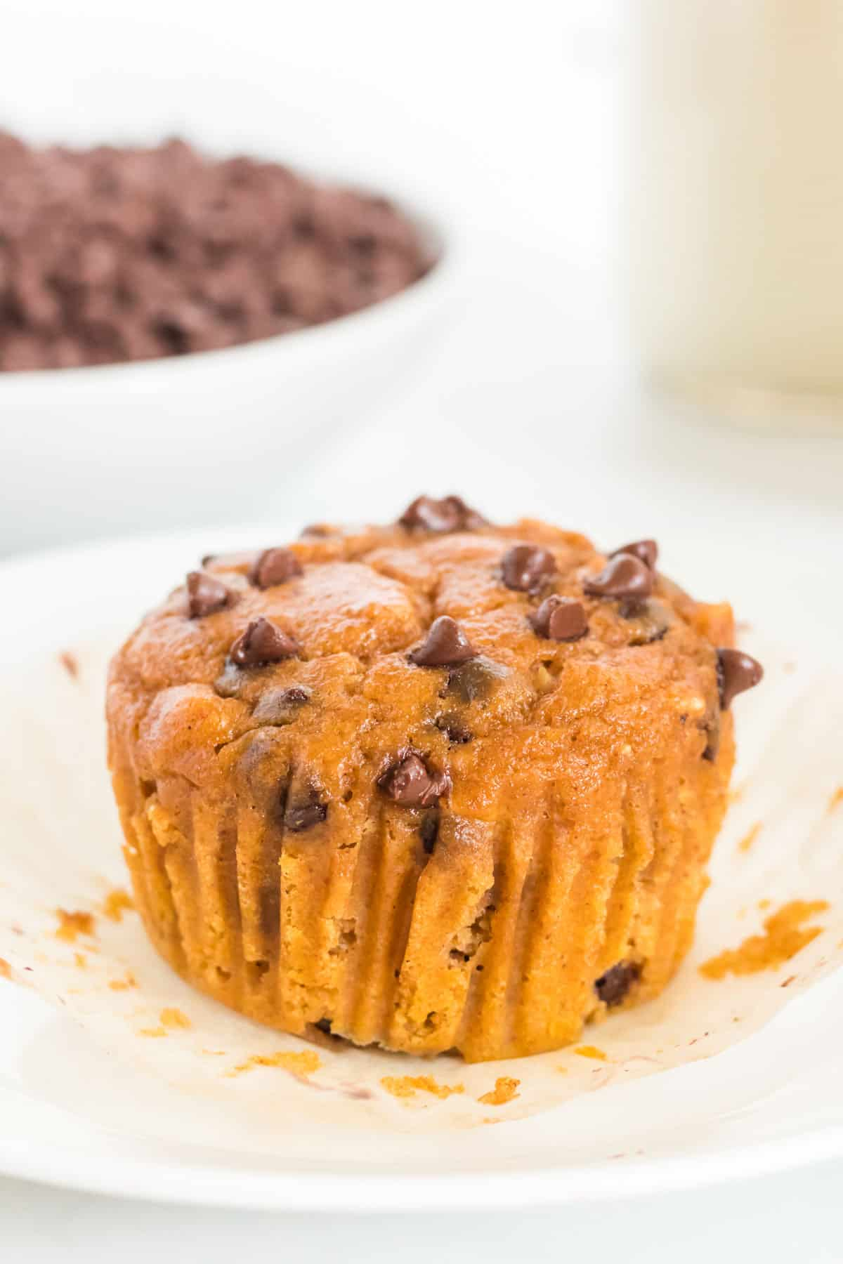 pumpkin muffin outside of the liner