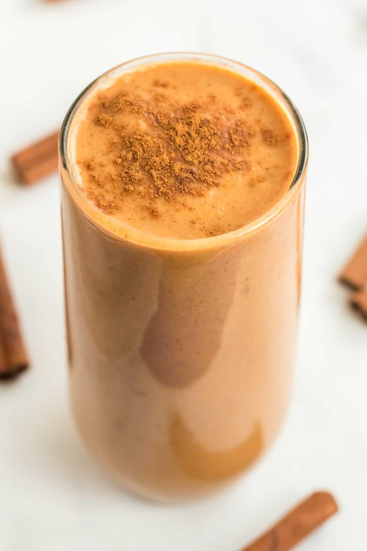 sweet potato smoothie topped with cinnamon