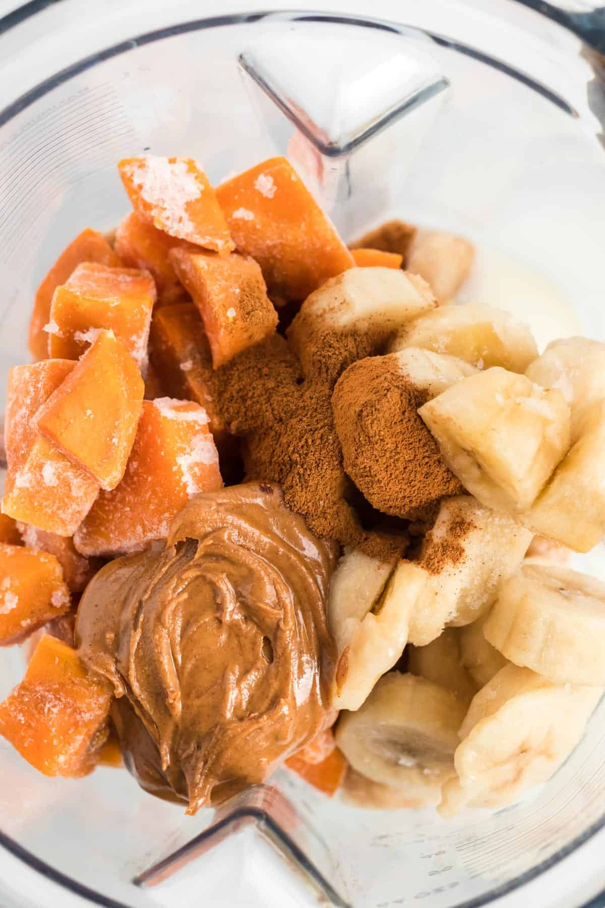 sweet potato smoothie ingredients inside the blender