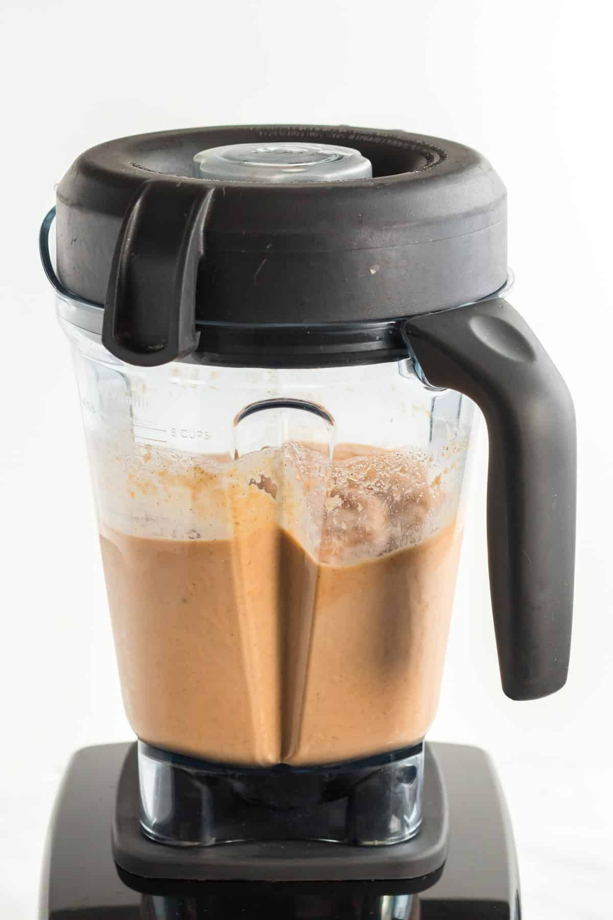 blender filled with sweet potato smoothie
