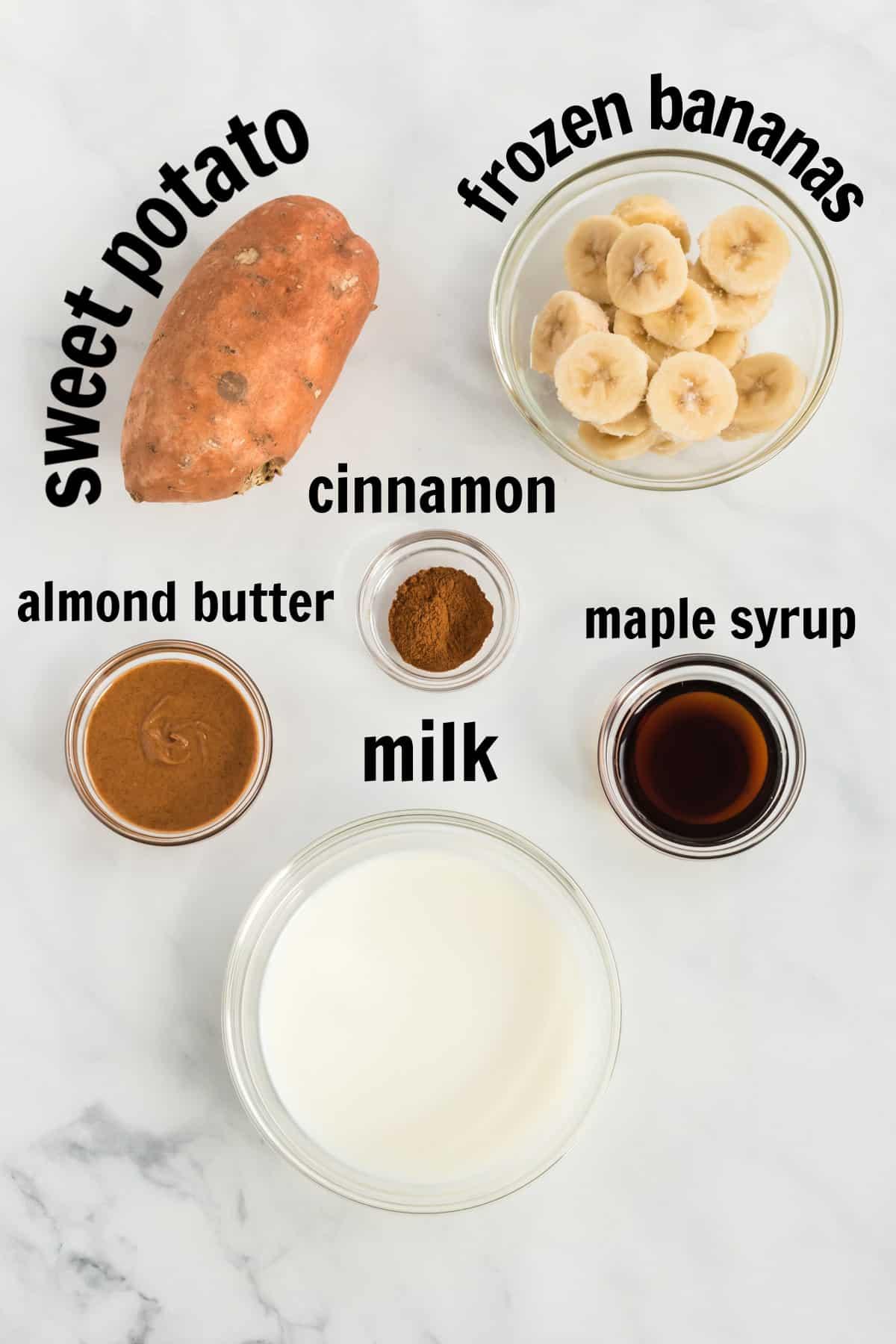 ingredients needed to make a sweet potato smoothie