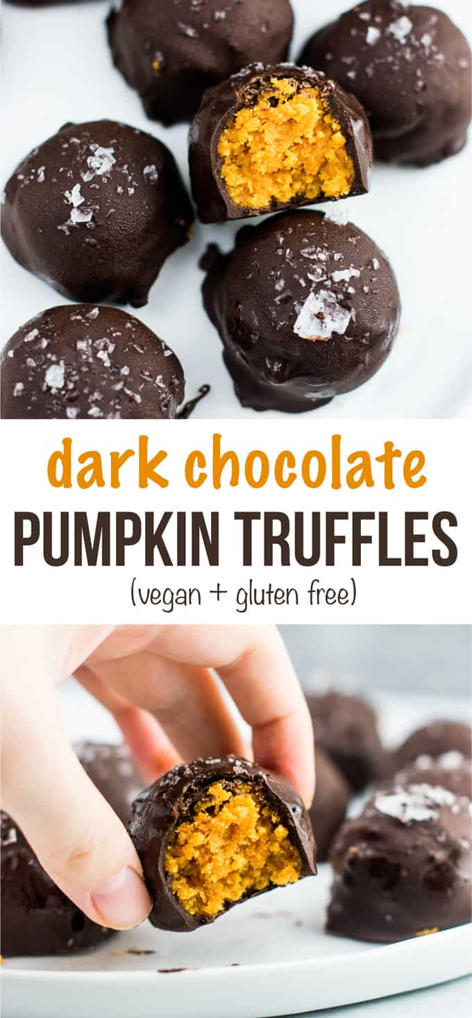 Dark chocolate pumpkin truffles recipe (vegan, gluten free) These taste AMAZING! Made with coconut flour and dark chocolate chunks. This needs to be your next pumpkin dessert! #pumpkintruffles #pumpkin #nobake #vegan #glutenfree #dessert