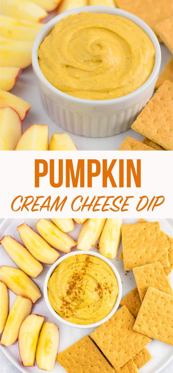"pinterest image with text ""pumpkin cream cheese dip"""