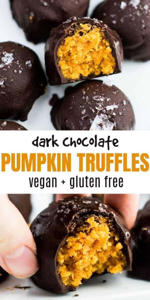"image with text ""dark chocolate pumpkin truffles vegan + gluten free"""