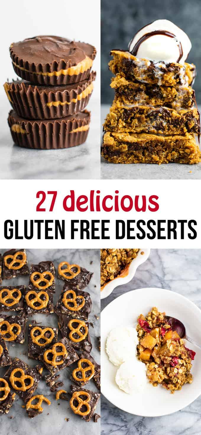 27 delicious gluten free dessert recipes – everything from gluten free cookie bars to fudge, no bake cookies, and more! #glutenfree #dessert #healthyrecipe #glutenfreerecipe