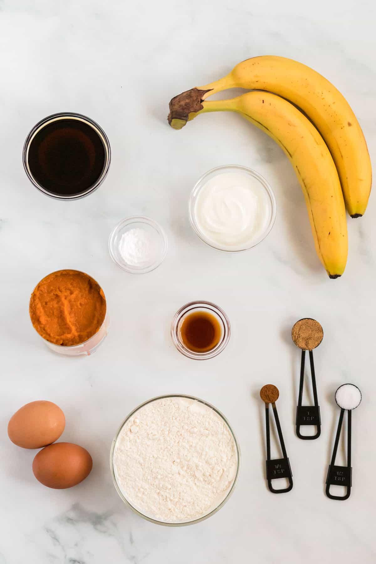 ingredients to make pumpkin banana bread