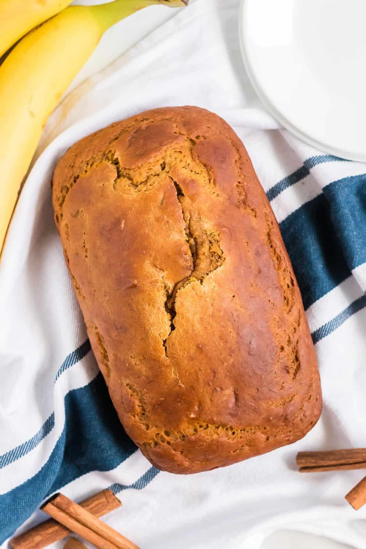 pumpkin loaf on a kitchen towel