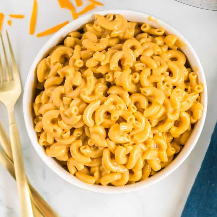 mac and cheese in a white bowl