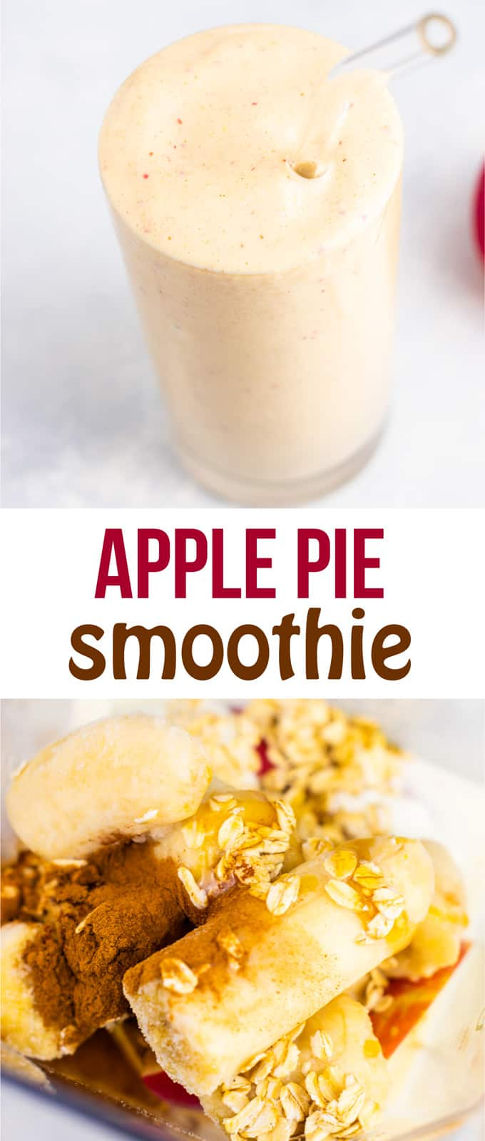 Apple pie smoothie recipe recipe (gluten free) Tastes like fall in a glass! So healthy and yummy! #glutenfree #applepiesmoothie #smoothie #fallrecipes
