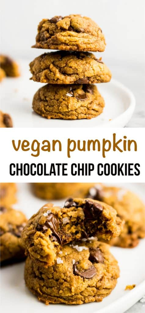 Vegan pumpkin chocolate chip cookies with flaked sea salt. OMG these were amazing! The best pumpkin cookies I have ever had, and they don't taste vegan! #cookies #pumpkin #chocolatechip #vegancookies #pumpkincookies #veganpumpkincookies #dessert #vegandessert
