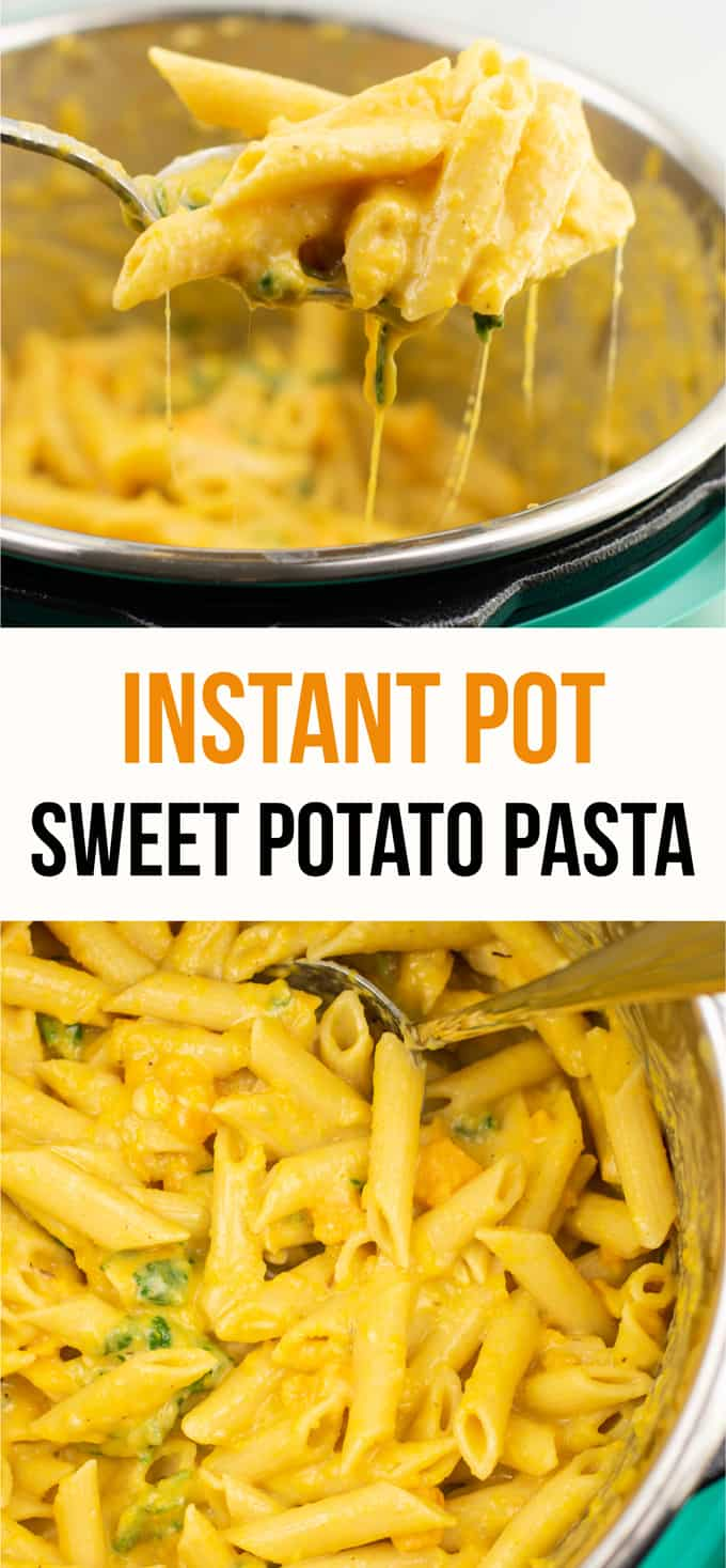 Instant Pot Creamy Sweet Potato Pasta (vegetarian) – this is the perfect fall recipe and tastes AMAZING! Even my two year old loved it, and it was a great way to sneak in more veggies! Definitely will be making this one again. #instantpot #instantpotrecipe #instantpotvegetarian #vegetarian #easydinner #dinner #vegetariandinner #sweetpotatorecipe #fallrecipe