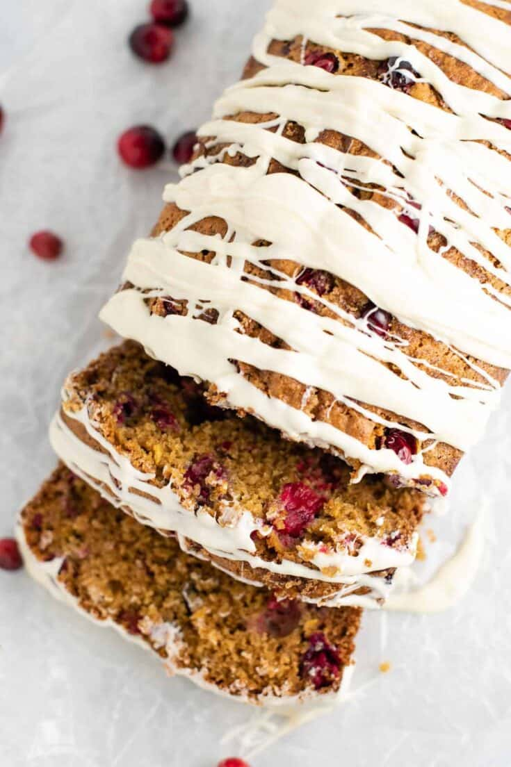 christmas cranberry bread with white chocolate glaze