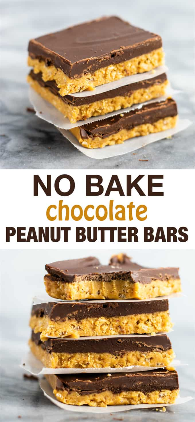 No bake chocolate peanut butter bars (vegan, gluten free) A healthier take on the classic favorite dessert recipe! #nobake #chocolate #peanutbutter #christmas #dessert #vegan #glutenfree