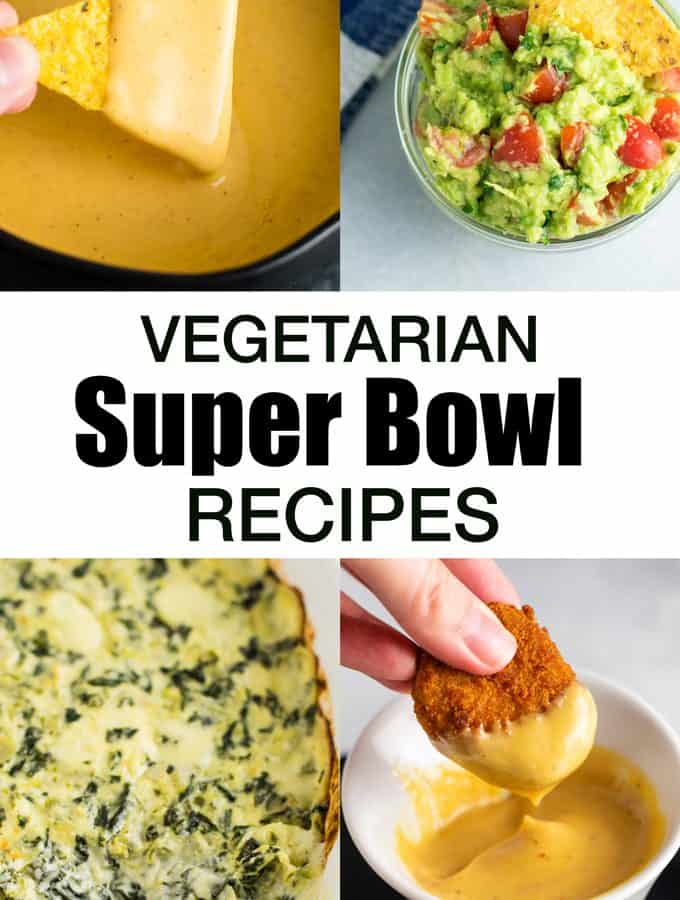 Some of my favorite vegetarian super bowl recipes! Everything from queso to guac, nachos, dips, and more! #vegetarian #superbowl #appetizers #meatless #gameday