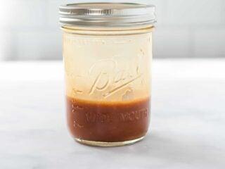 stir fry sauce in a mason jar with a lid