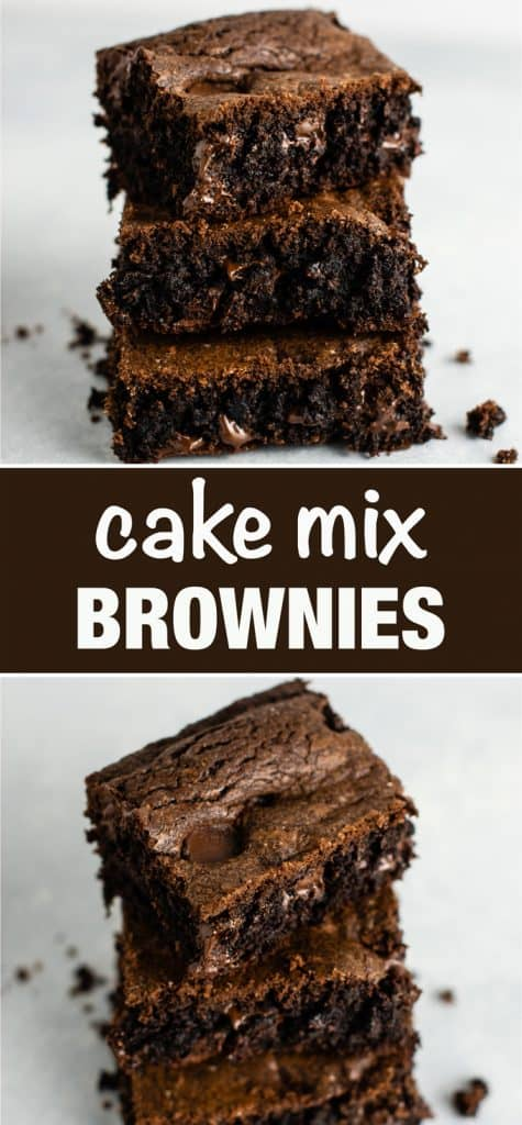 How to make brownies from cake mix – don't have brownie mix on hand? These are so good and so easy to make! #cakemixbrownies #cakemixrecipes #brownies #dessert #easyrecipe #cakemixdessert