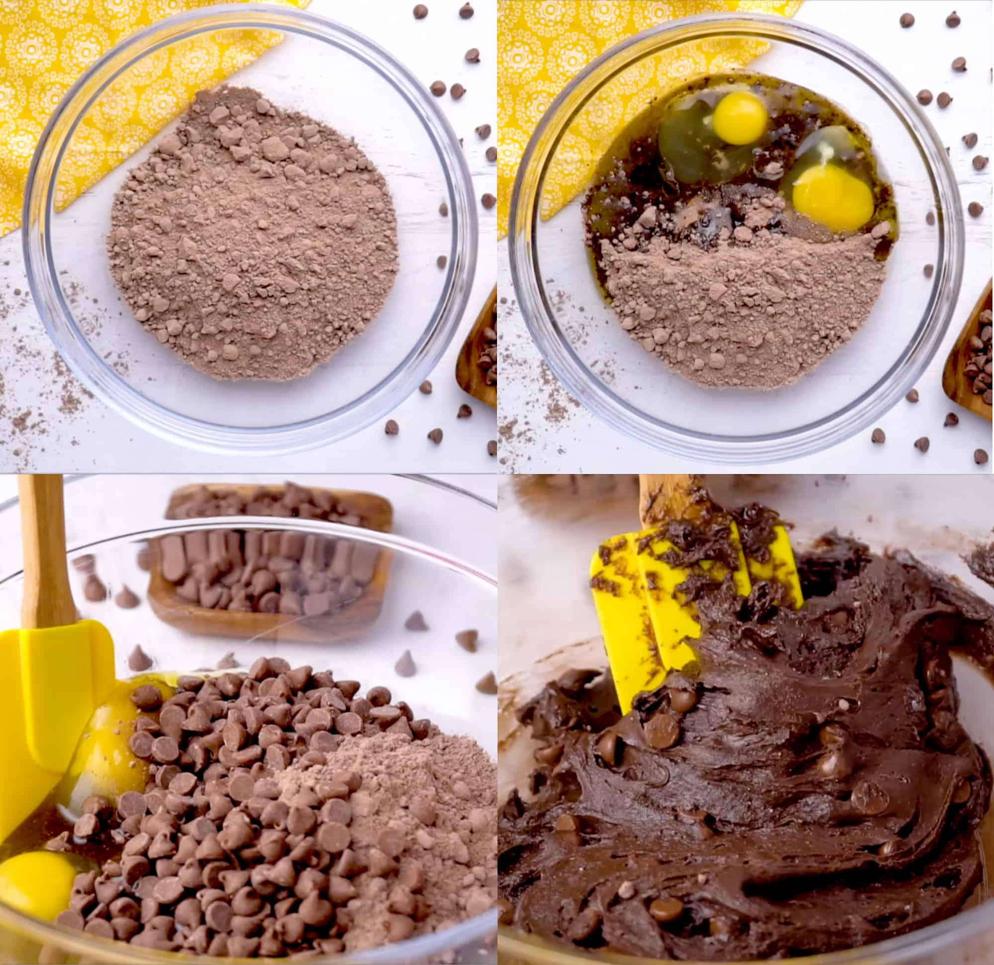 four images showing the progression of adding the ingredients and mixing them together