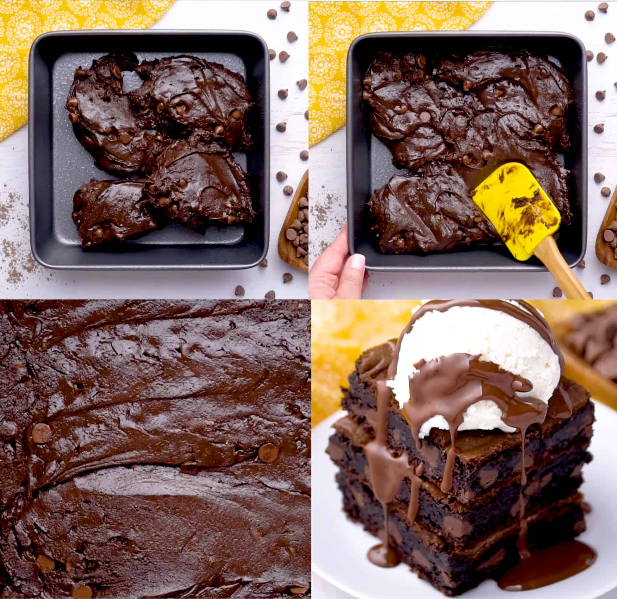 four images showing the spreading of the batter, and then the finished brownies with ice cream and fudge sauce on top