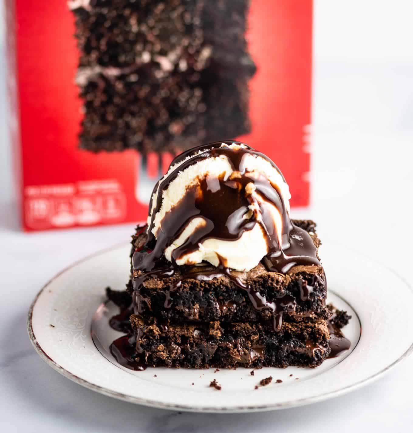 dark chocolate fudge cake mix brownies