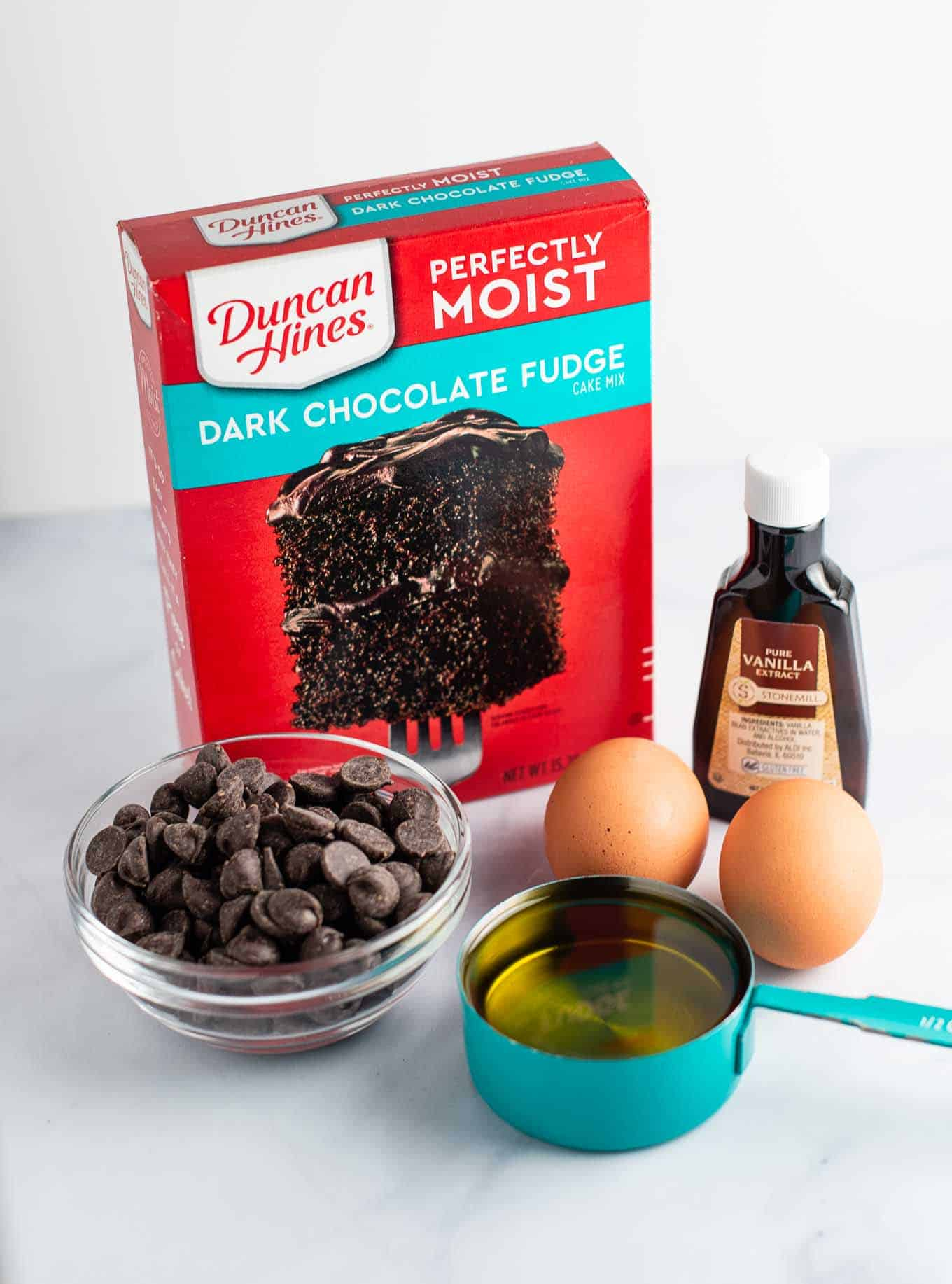 cake mix, chocolate chips, oil, eggs, vanilla extract