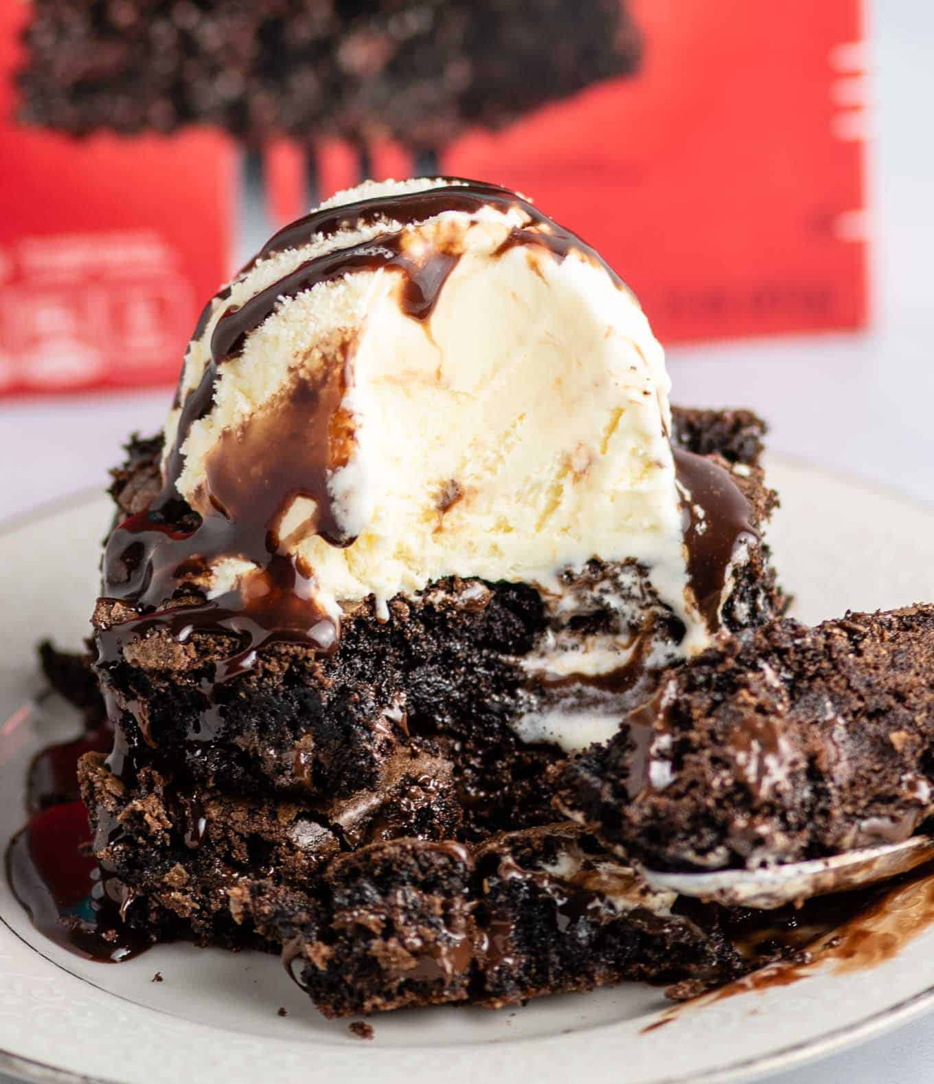 cake mix brownies with hot fudge and ice cream