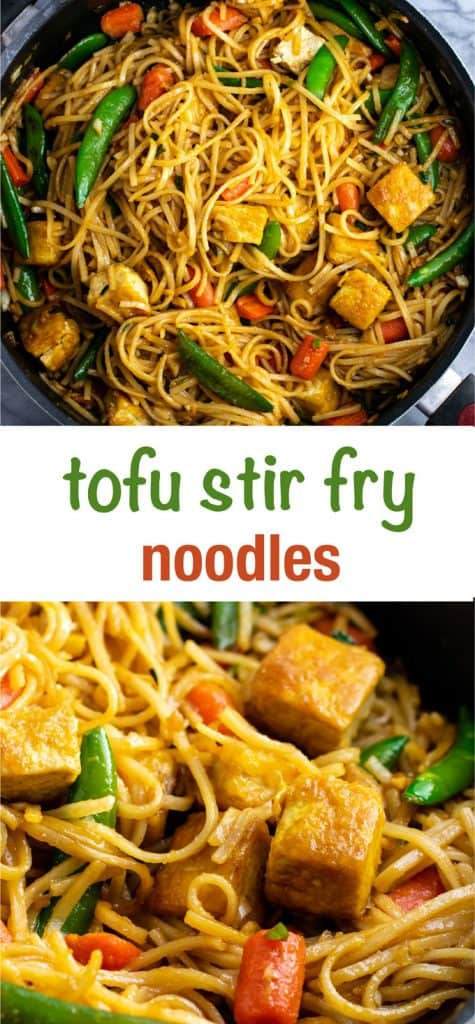 Tofu stir fry noodles with sugar snap peas and carrots. Homemade 3 ingredient stir fry sauce makes this taste amazing! #tofu #stirfrynoodles #stirfry #vegan #dinner #stirfryrecipe #vegetarian #tofustirfy