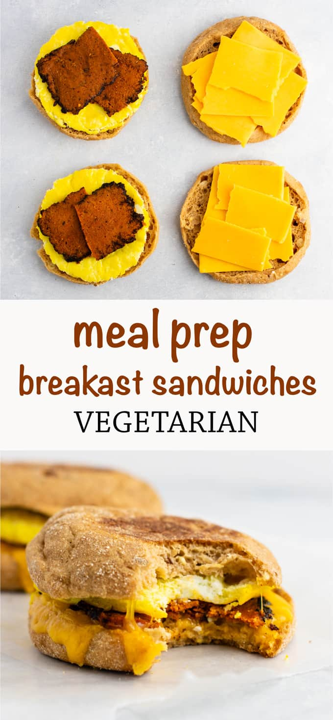 Meal Prep Vegetarian breakfast sandwich - these easy English muffin breakfast sandwiches taste amazing and are so easy to make! #vegetarian #breakfast #mealprep #englishmuffin #breakfastsandwich