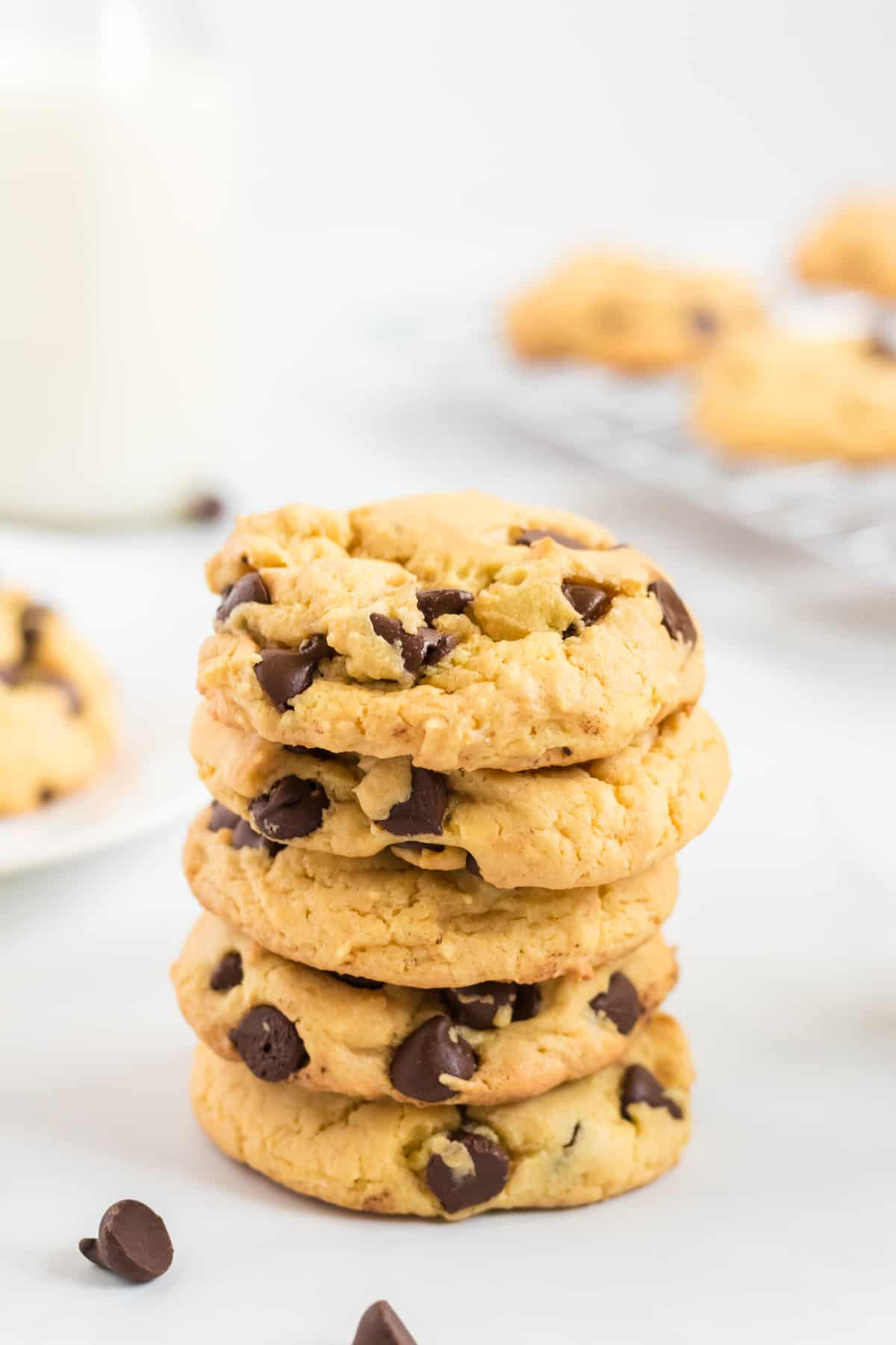 chocolate chip cookies stacked 5 high