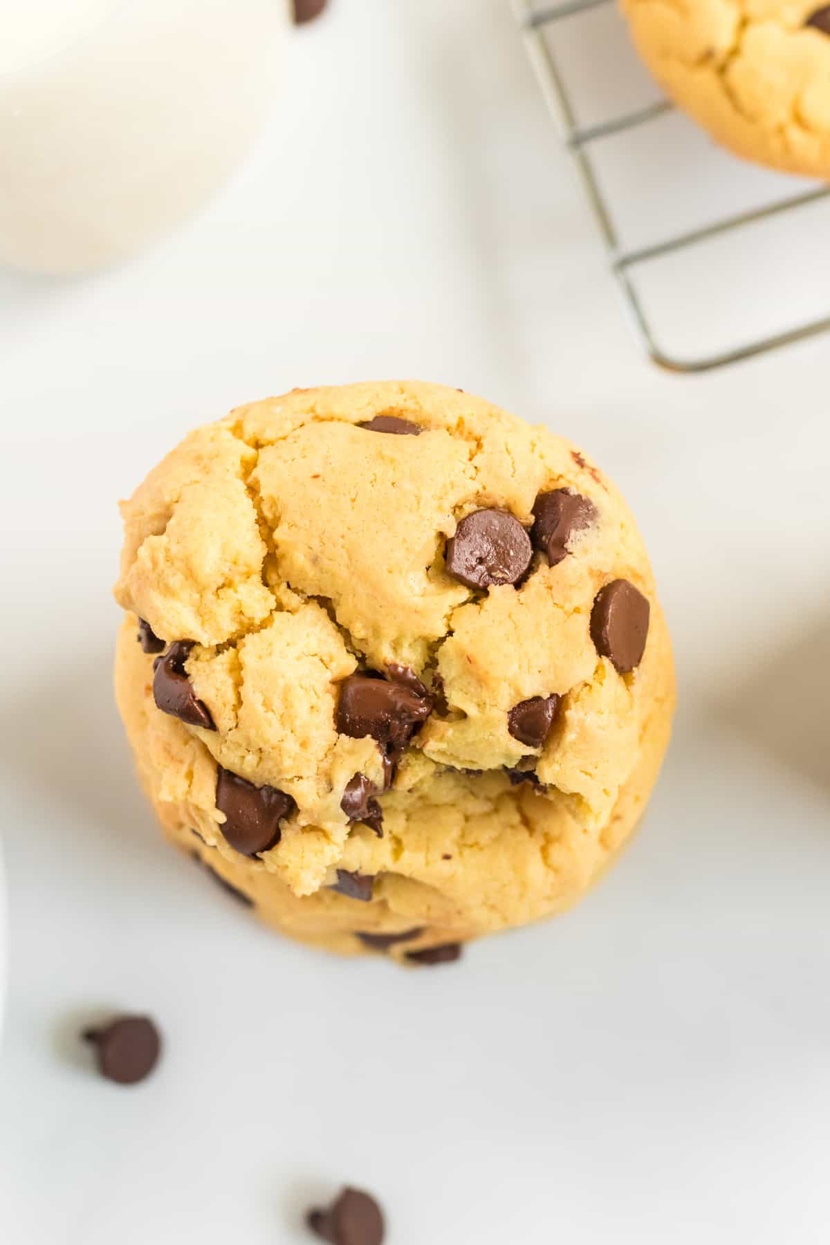 yellow cake mix cookies from an overhead view
