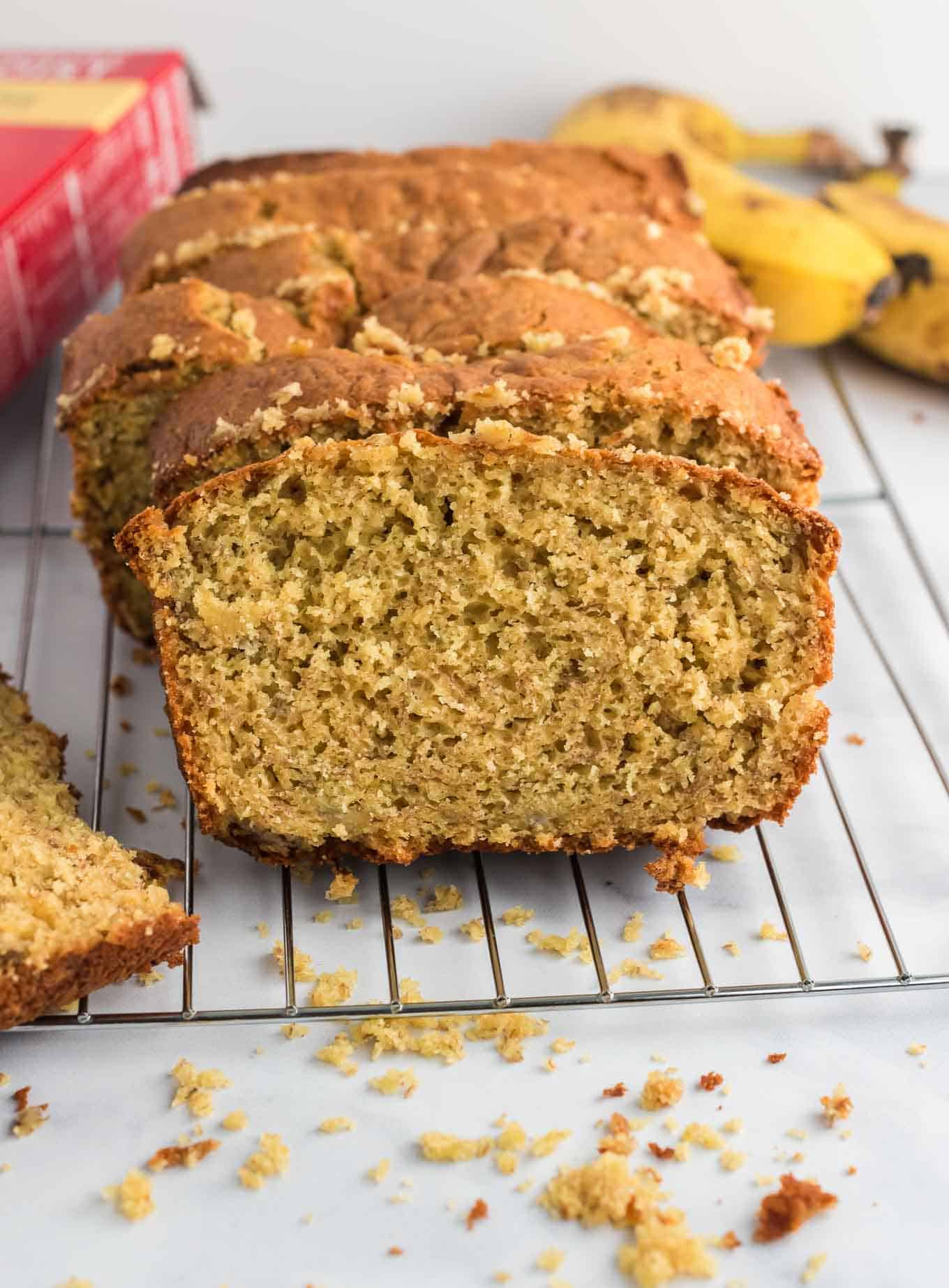 banana bread loaf sliced