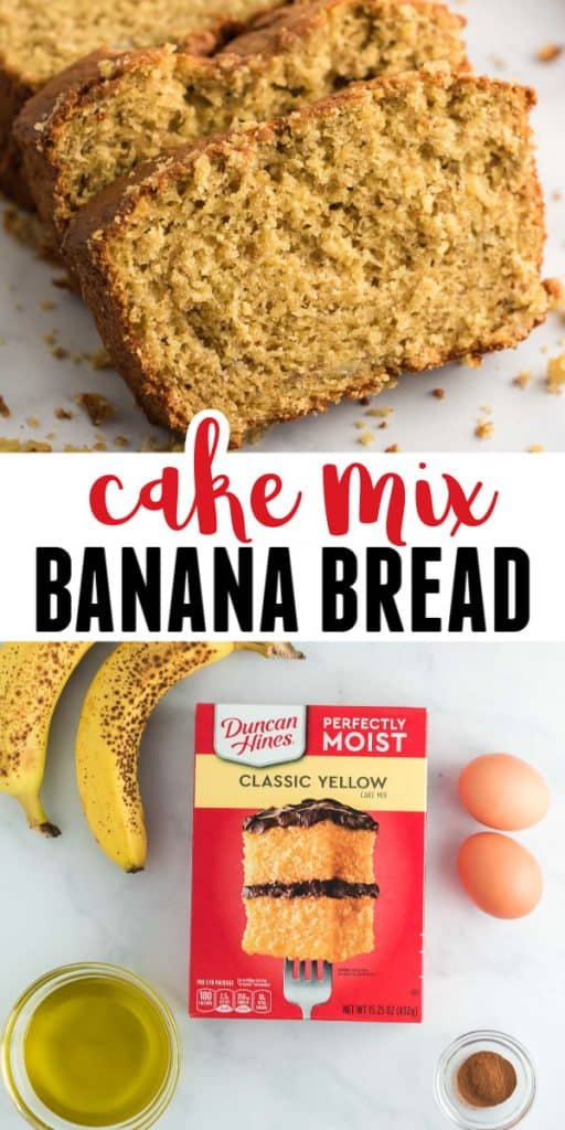 "Image of banana bread with the text ""cake mix banana bread"""