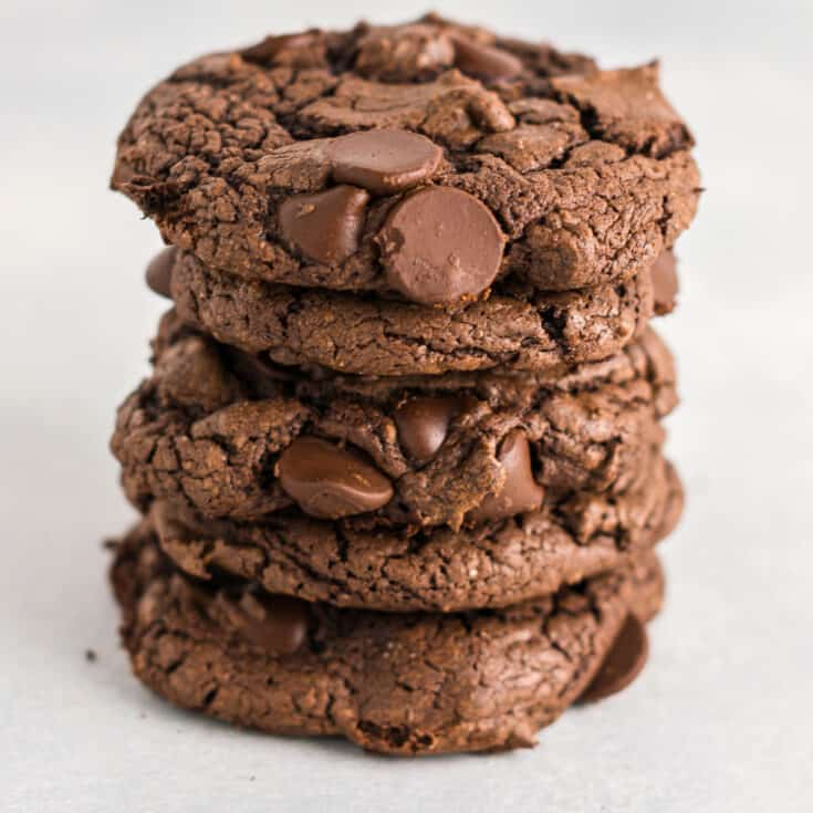 chocolate cake mix cookies stacked