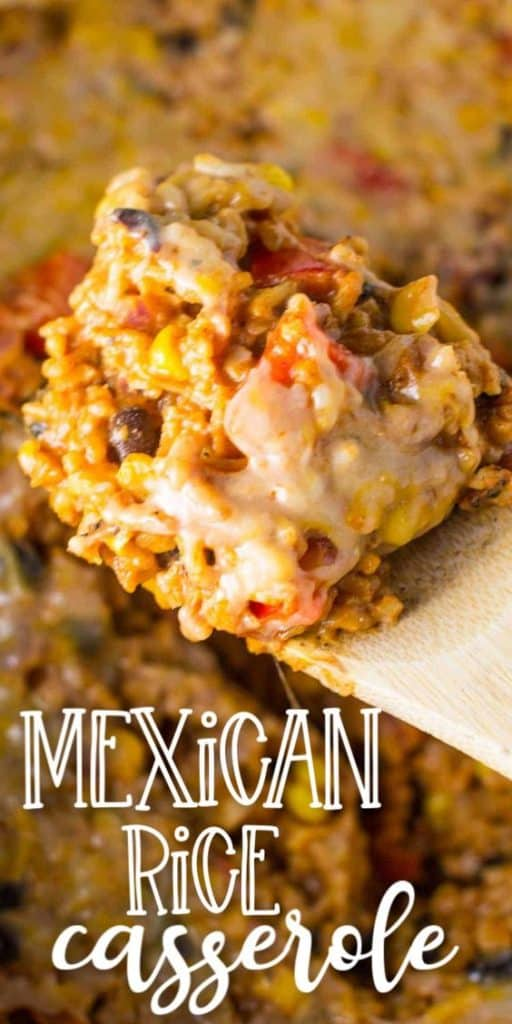 """image with text """"mexican rice casserole"""""""