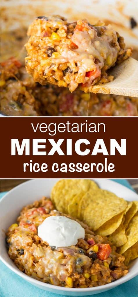 """image with text """"vegetarian mexican rice casserole"""""""