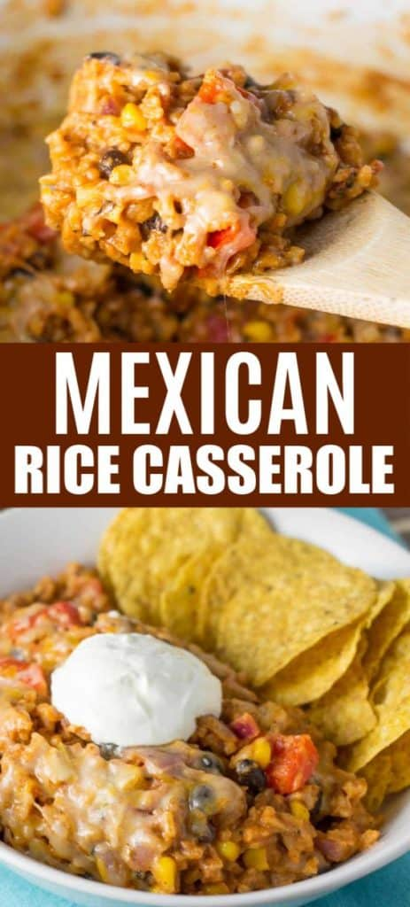 "image with text ""vegetarian mexican rice casserole"""