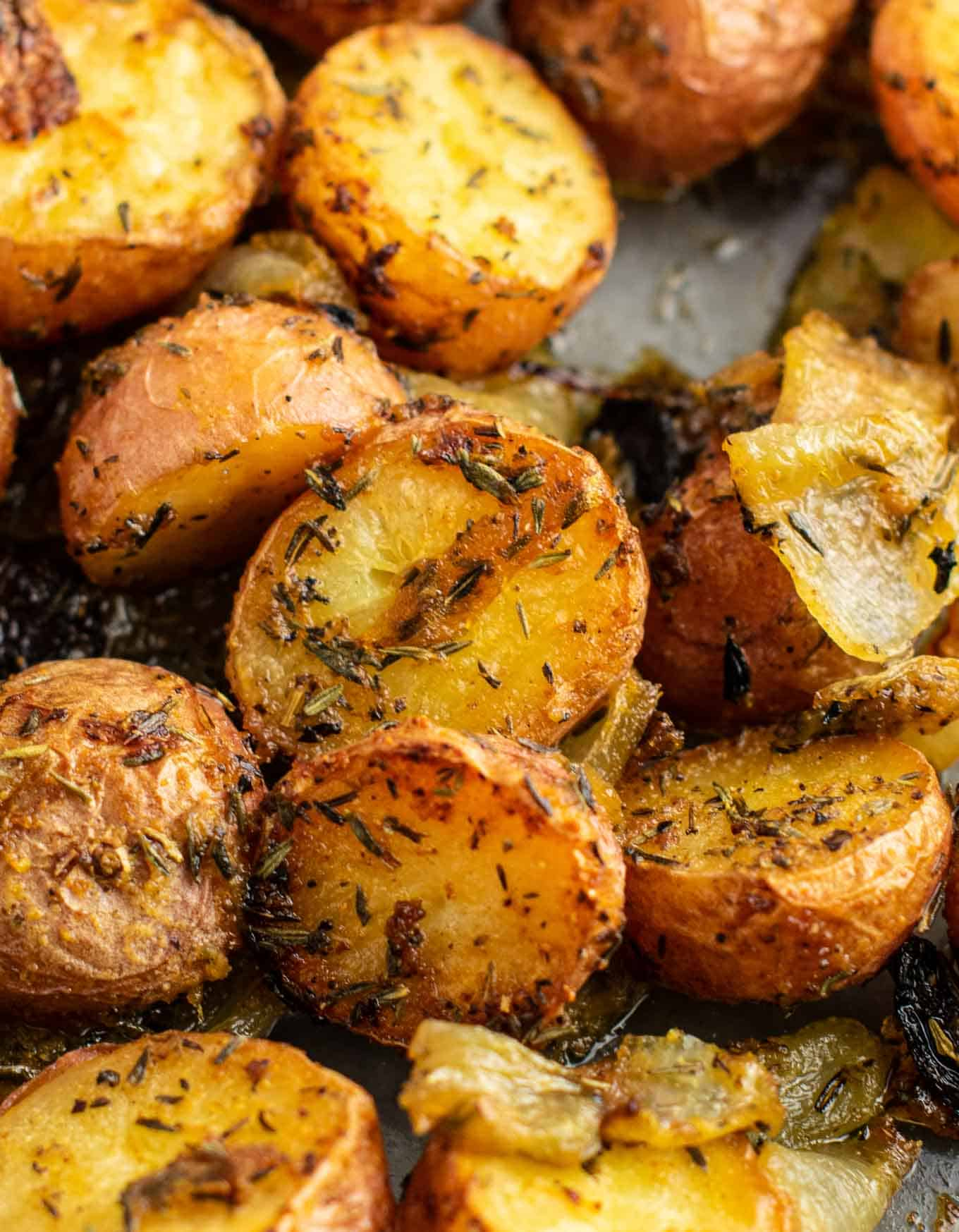 how to roast potatoes and onions