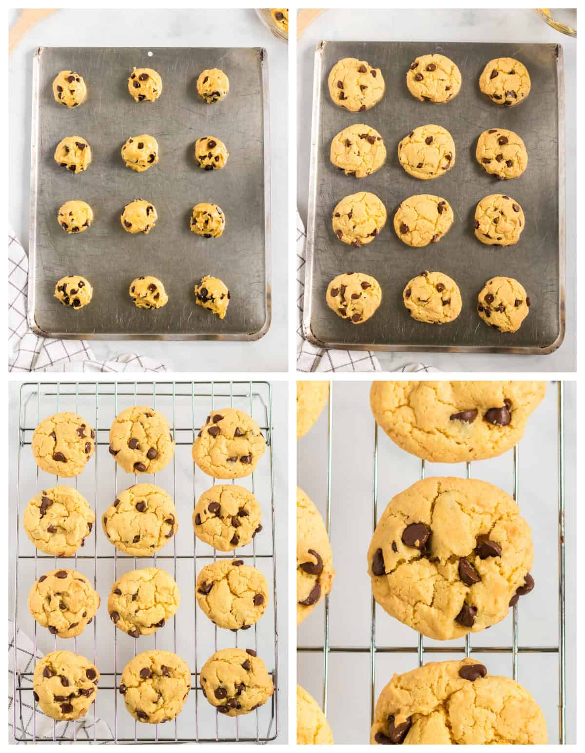 four step collage showing cookie batter on a baking sheet, the baked cookies, and the cookies on a cooling rack