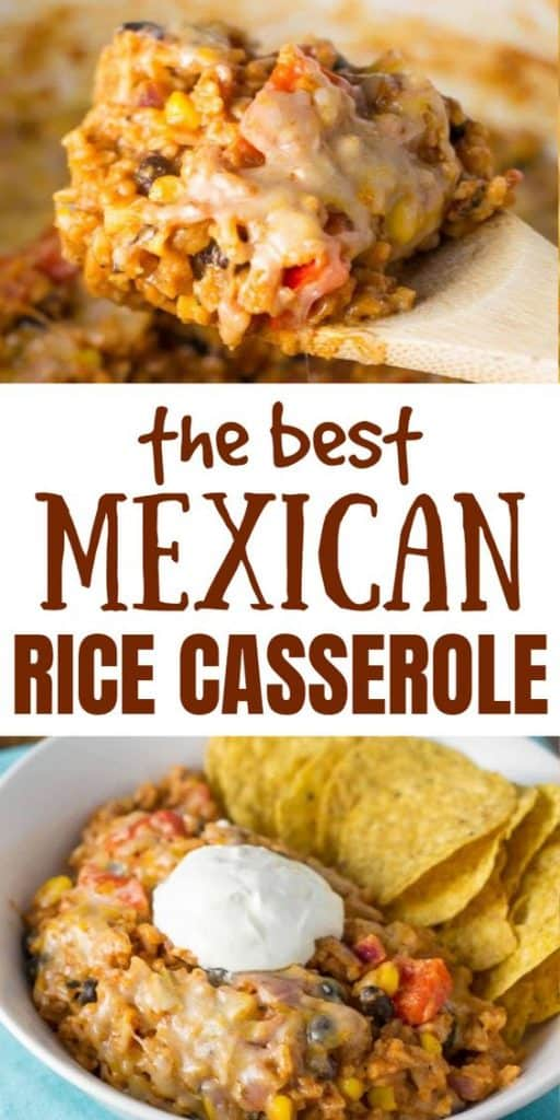 "image with text ""the best mexican rice casserole"""