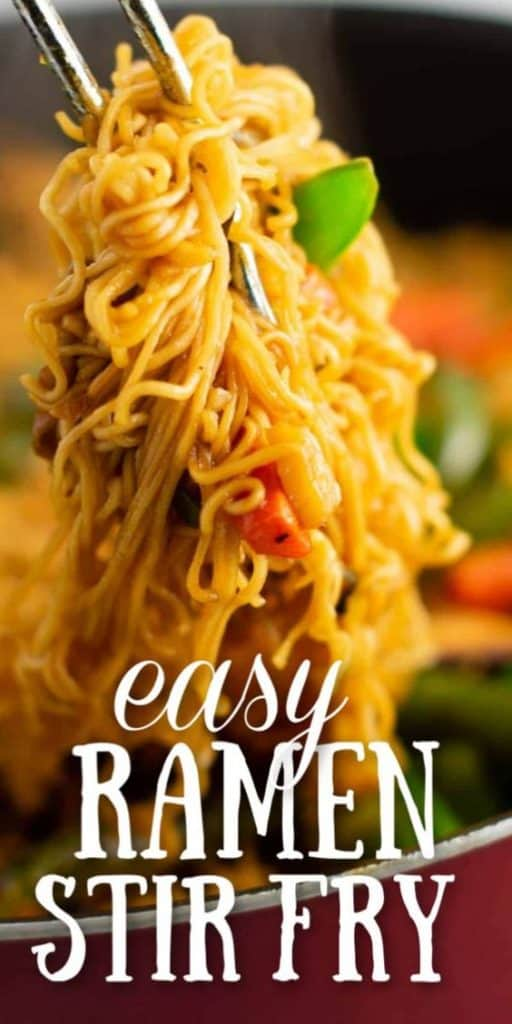 "image with text ""easy ramen stir fry"""