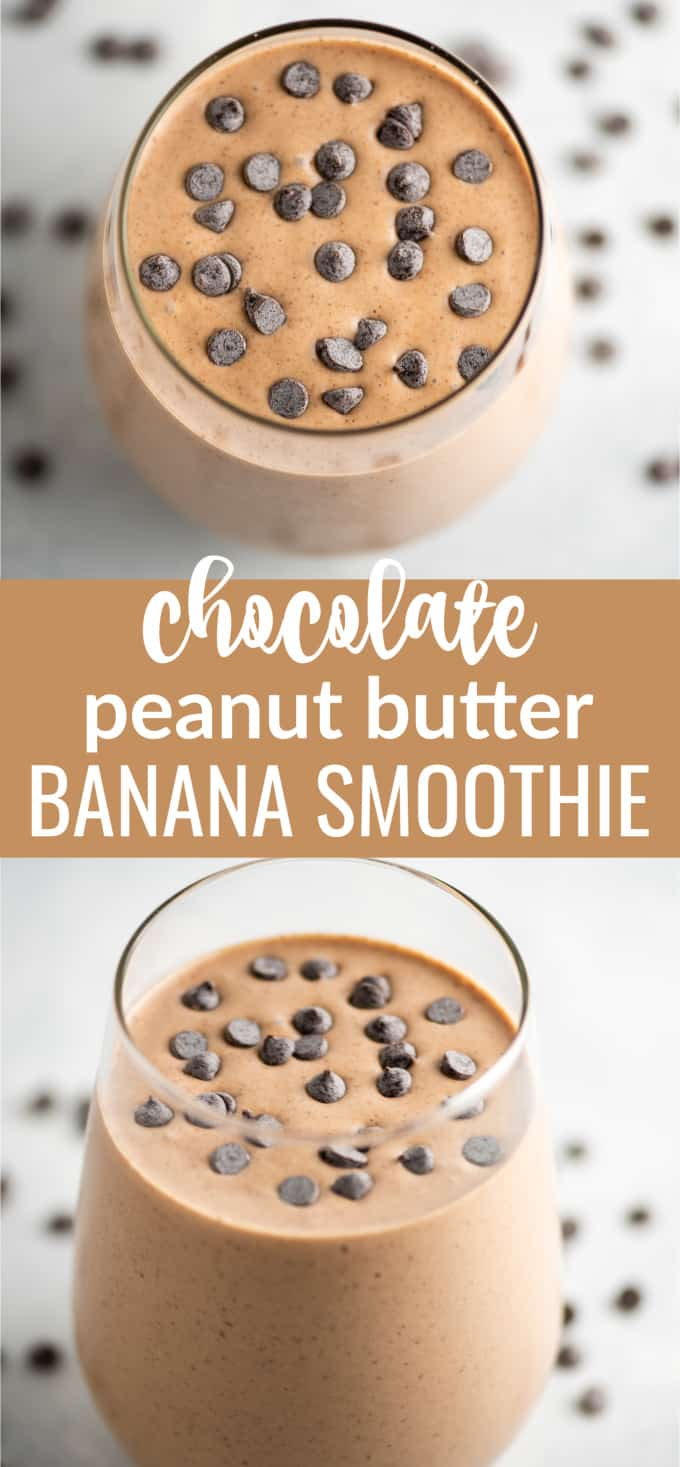 "image with text ""chocolate peanut butter banana smoothie"""
